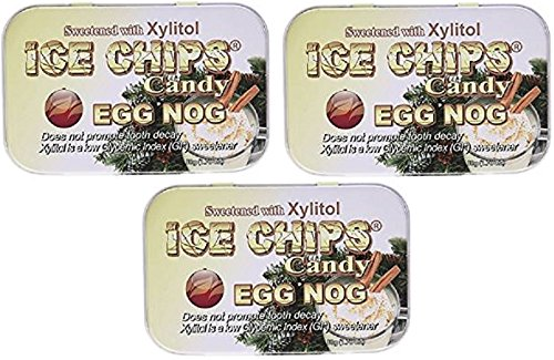 ICE CHIPS Xylitol Candy Tins (Egg Nog, 3 Pack) by ICE CHIPS