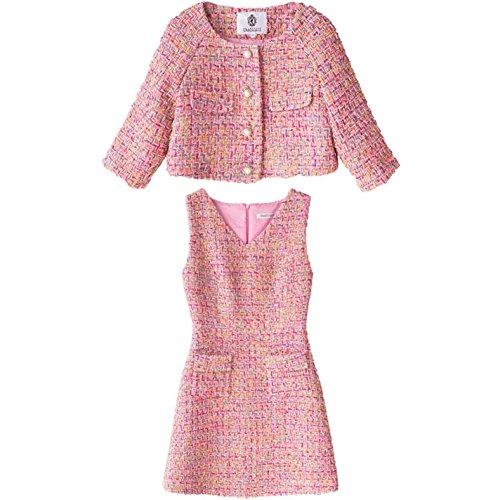 yubanfive Pearl Beaded Frayed Edge Tweed Blazer Fall Womens Collarless Dresses