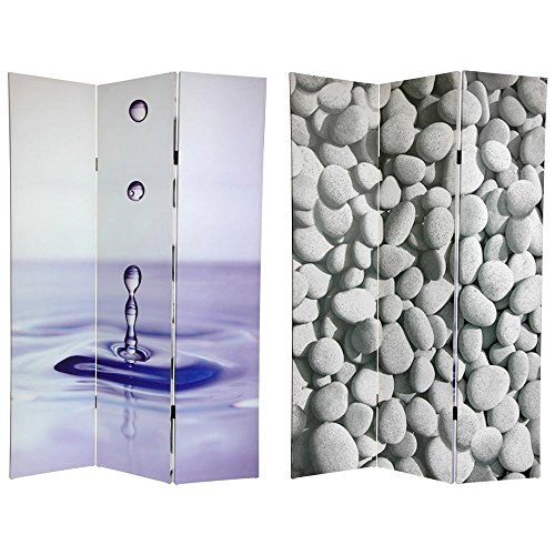Oriental Furniture 6 ft. Tall Double Sided Water Zen Canvas Room Divider