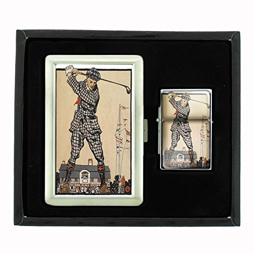 Perfection In Style Cigarette Case and Oil Lighter Gift Set Vintage Golf Design 001 by Perfection In Style