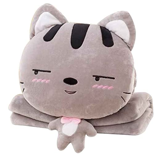 24station Cute Little Cat 3 en 1 Cojín Manta Almohada ...