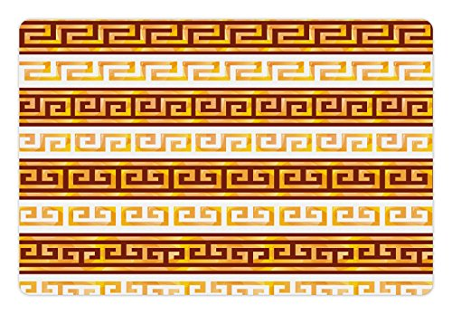 Ambesonne Toga Party Pet Mat for Food and Water, Ancient Greek Cultural Tribal Geometric Meanders Figure Ornaments Design, Rectangle Non-Slip Rubber Mat for Dogs and Cats, Redwood Apricot