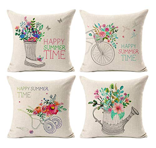 Kithomer Set of 4 Farmhouse Outdoor Decorations Throw Pillow Cover Happy Summer Time with Floral Bicycle Cotton Linen Pillow Case Home Decor Cushion Cover for Sofa Couch 18 x 18 Inch (Sofa Set Floral)
