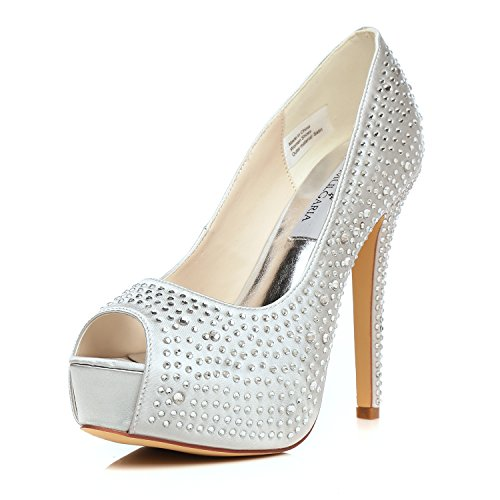 Jiame Femmes Plate-forme À Talons Hauts Peep Toe Pompes Strass Satin  Mariage Nuptiale Prom