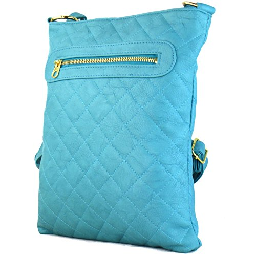 Adjustable Medium Strap Turquoise Cross Long Handbags London Beige Over Tan Lightweight Women Leather Faux Soft Ladies Quilted For Shoulder Body Xardi Bag with Black B1S5wqw