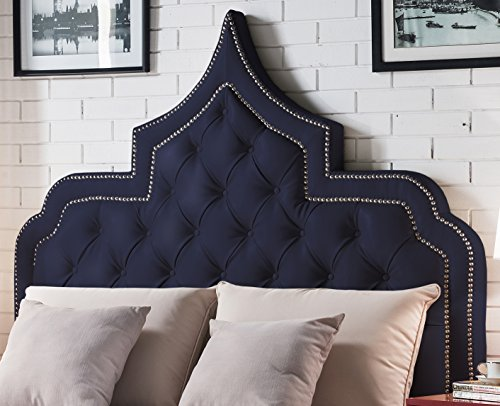 Iconic Home Casablanca PU Leather Modern Contemporary Button Tufted with Silver Nailheads Trim King Size Headboard, Navy Blue, King Size (Leather Headboard Nailhead)