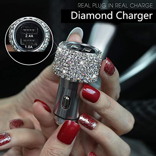 LadyCrystal Dual USB Car Charger for Mobile Phone Tablet GPS Fast Charger Rhinestone Diamond Phone Data Line Wire in Car Cigarette Lighter (Sliver) -