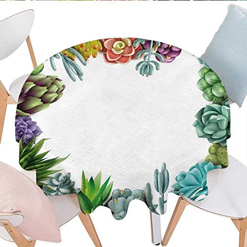 longbuyer Succulent Round Tablecloth Frame with Various Succulent Plants Collection Vivid Garden Tropical Nature Image Party Tablecloth 50
