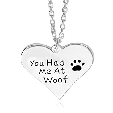 0a3950854 Image Unavailable. Image not available for. Color: Dog Charm Necklace You  Had Me At Woof Paw Print ...