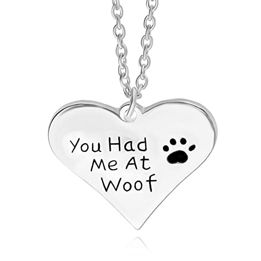 Amazon dog charm necklace you had me at woof paw print heart dog charm necklace you had me at woof paw print heart pendant necklace mozeypictures Gallery