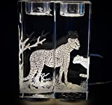 Hand Engraved Candlesticks Cheetah, Engraved Candlesticks, Etched Candlesticks, African Animals Cheetah