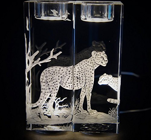 Hand Engraved Candlesticks Cheetah, Engraved Candlesticks, Etched Candlesticks, African Animals Cheetah by Akoko Art Handengraved Crystal Glass