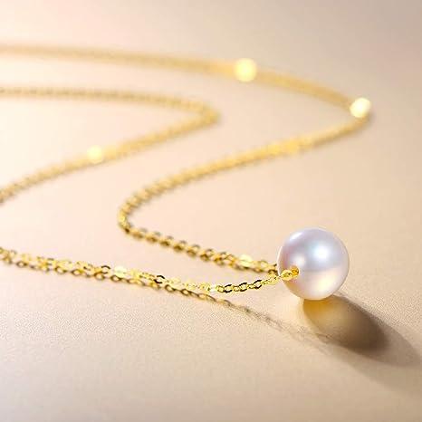 aae4f4740fa0 Lnyy Collar de Perlas Sola Agua de mar de la Perla Colgante Oro 18K  Cerradura del