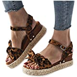MITCOWBOYS Sandals with Bows for Women Open Toe Leopard Print Ankle Strap Buckle Platform Wedges Espadrilles Coffee