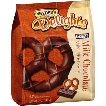 Snyder's of Hanover Delights Hershey's Milk Chocolate Mini Pretzels, 7 Oz (Pack of 4)
