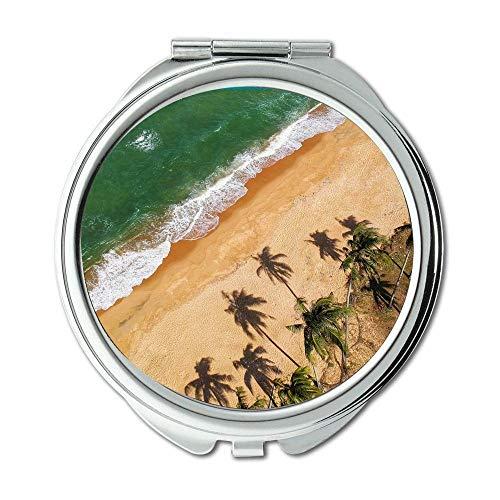 Mirror,Compact Mirror,aerial shot aerial view beach,pocket mirror,portable -