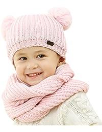 Winter Kids Hats Boys Girls - Warm Kid Boy Girl Scarf Set Knit Pom Pom Beanie Hat For Baby Toddler 1-5 Years