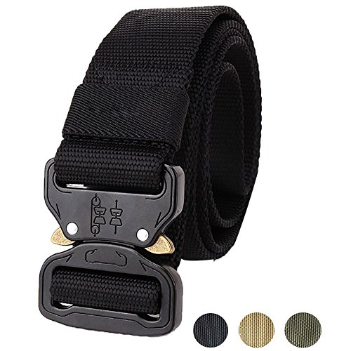Fairwin Tactical Belt, Military Style Webbing Riggers Web Belt with Heavy-Duty Quick-Release Metal Buckle (Military- Black)