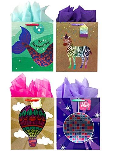 Premium All Occasion Gift Bags + Tissue Paper, 4 Large Bags + Tissue Paper, Mermaid, Zebra, Balloon, Disco Ball -