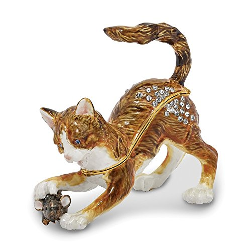 Box Cat Bejeweled Trinket - Jere Luxury Giftware Bejeweled Thom & Jere Cat & Mouse, Pewter with Enamel Collectible Trinket Box with Matching Pendant Necklace