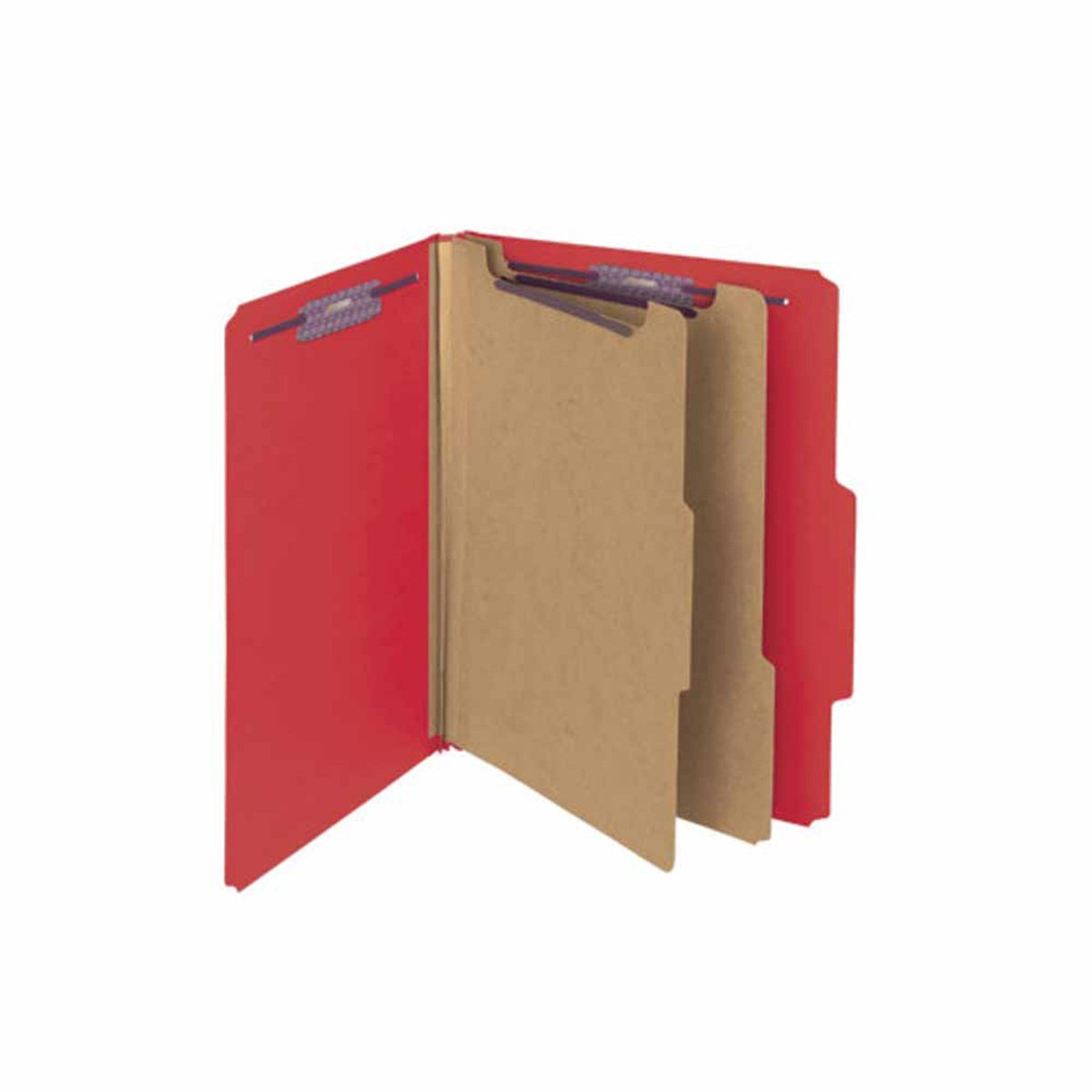 SMEAD C402-5A-2D-BR5 Top Tab Folder, FAS #1 and #3, 25Pt Pressboard, 2 Dividers, 11 3/4'' x 10'', Bright Red (Pack of 50)