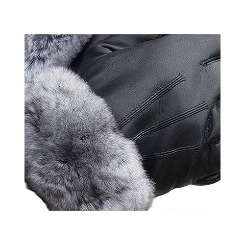 Chinchilla Fur Lined Black Leather Gloves -Women's