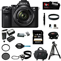Sony Alpha a7II Interchangeable Digital Lens Camera with 28-70mm Lens With Sony 64GB SDXC Memory card, Sony VCT-R100 Tripod, 2 Additional NP-FW50 High Quality Batteries and Charger, Focus DSLR System Camera Case, Accessory Bundle Benefits Review Image