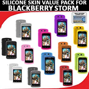 Silicone Skin 12 pc. Value Pack for your Blackberry Storm 9530 (Black, White, Clear, Smoke, Blue, Green. Red, Yellow, Orange, Purple, Light Pink, Hot Pink) Bonus DBRoth Microfiber Cleaning Cloth Included