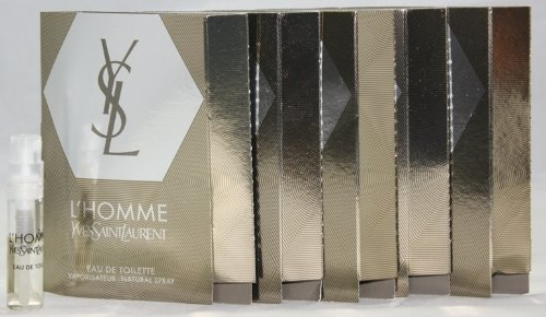 YSL Yves Saint Laurent L'HOMME Eau de Toilette EDT Cologne for Men ~ .05 fl. oz. / 1.5 ml Carded Sample Spray Vial x 5 ()