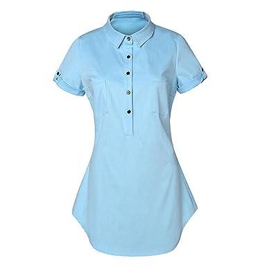 a22702a5145 Highdas Women Denim Dresses Classic Casual Short Sleeve Solid Jeans Mini Dress  Shirt Dress  Amazon.co.uk  Clothing