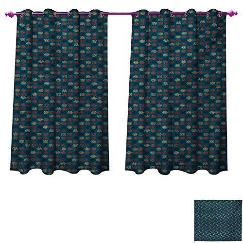 Littletonhome Geometric Window Curtain Fabric Blue Toned Background with Warm Colored Bullseye Patterned Circles with Stars Drapes for Living Room W120 x L72 Multicolor (Bullseye Light Plum)