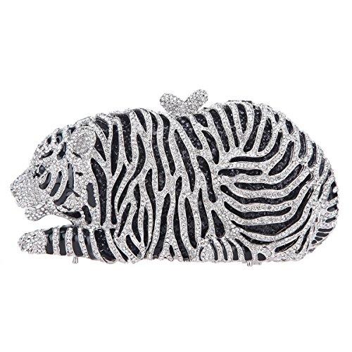 Bag Big Bonjanvye Evening Studded and Silver Purse Tiger Glitter Clutch Clutch PFnxzFTwq1