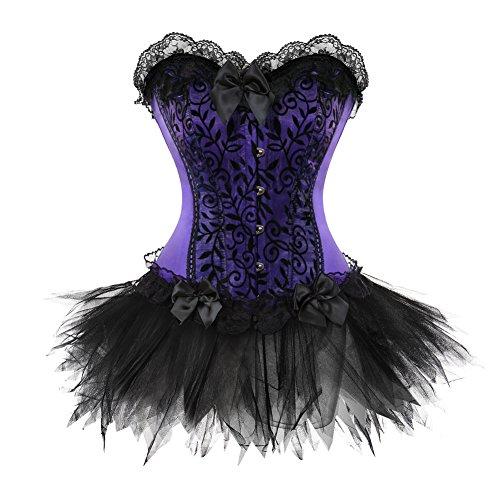 ErQi 812T Fairy Princess Lace up Corset Dress Burlesque Showgirl Costume S Purple