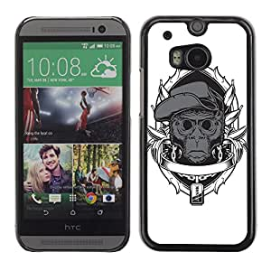 CASETOPIA / Gangsta Chimp Monkey / HTC One M8 / Prima Delgada SLIM Casa Carcasa Funda Case Bandera Cover Armor Shell PC / Aliminium