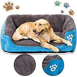 PrettyQueen Dog Bed Pet Cat Warm Bed Soft & Cozy Machine Washable for Medium and Small Dogs Cats(M, Blue)