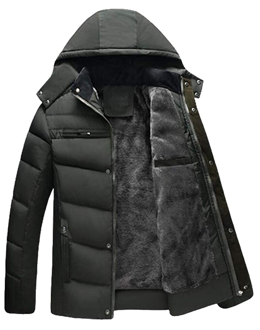 FSSE Men Plus Size Thicken Hooded Faux Fur Lined Down Quilted Jacket Coat Outwear