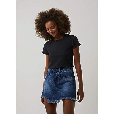 ace0b1ffe Saia jeans cintura alta destroyed JEANS 38: Amazon.com.br: Amazon Moda