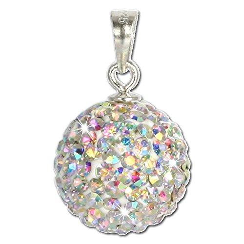 SilberDream Glitzer Anhänger Swarovski Kristalle weiß Polarlicht Silber Kettenanhänger mit Glitzerkristallen für Kette oder Halskette GSH101