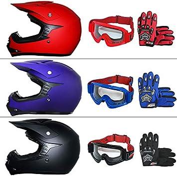 Leopard LEO-X15 Casco de Motocross para Niños & Guantes y Gafas de Motocross para