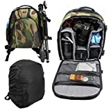 High Quality Camouflage Water-Resistant Rucksack / Backpack with Customizable Interior & Raincover for Sony Cybershot HX60 - by DURAGADGET