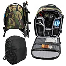 High Quality Camouflage Water-Resistant Rucksack / Backpack with Customizable Interior & Raincover for the Eachine Racer 250 - by DURAGADGET
