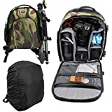 Water-Resistant Camouflage Backpack with Customizable Interior + Rain Cover for the DBPOWER N5 4K Action Camera - by DURAGADGET