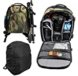 DURAGADGET Camouflage 'Adventure' Nylon Rucksack With Adjustable Padded Interior & Rain Cover For Pentax 8.5x21 Close Focus Papilio Binoculars & Canon 10x30 Image Stabilising Binoculars