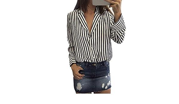 Mujer blusa fiesta,Sonnena ❤ Cárdigan de manga larga con cuello en V para mujer Blusas de rayas Casuals impresas a rayas: Amazon.es: Hogar