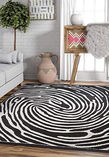 Whorl Black White Modern Swirl Microfiber 8×11 7'10″ x 9'10″ Area Rug Abstract Geometric Circles Carpet