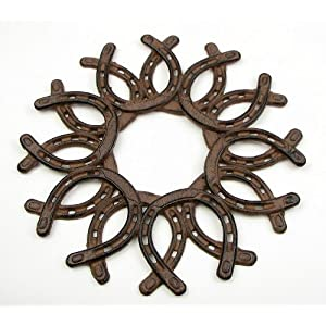 IWGAC 0184S-0072 Cast Iron Horseshoe Wreath 12
