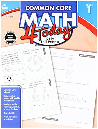 Carson Dellosa Common Core 4 Today Workbook, Math, Grade 1, 96 Pages (CDP104590)
