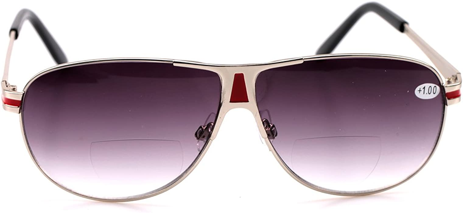 c17fba2d60f SOOLALA Mens Moore Polarized Aviator Nearly Invisible Line Bifocal  Sunglasses with Readers