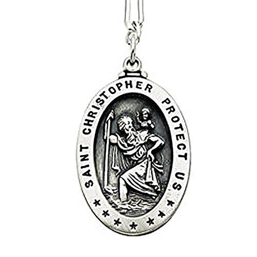 Amazon.com: Plata de ley Saint Christopher Llavero – 3/4 ...