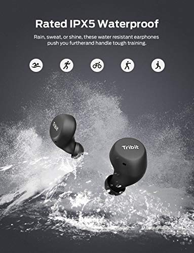Tribit FlyBuds Wireless Earbuds – 5.0 Bluetooth Earbuds 36Hrs Playtime for Gym Running, Mono Mode IPX5 Waterproof True Wireless Earbuds Built-in Mic Touch Control Passive Noise Canceling, Black